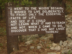 walden pond thesis If a man does not keep pace with his companions, perhaps it is because he hears a different drummer (216) the thesis of thoreau's tale: thoreau's walden is mythic.